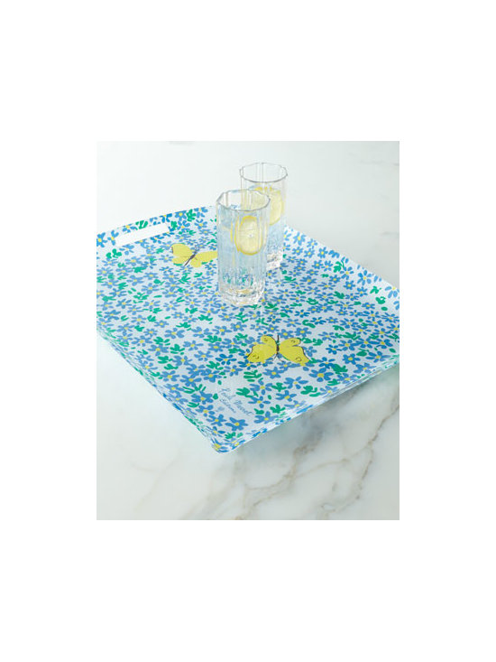"Paule Marrot Editions - Paule Marrot Editions ""Forget-Me-Not"" Acrylic Tray with Handles - A recreation of a textile pattern from quintessential French textile artist Paule Marrot, this acrylic tray features an expressive field of blue forget-me-nots (myosotis sylvatica) punctuated by vibrant butterflies. It's the perfect serving accessory fo..."
