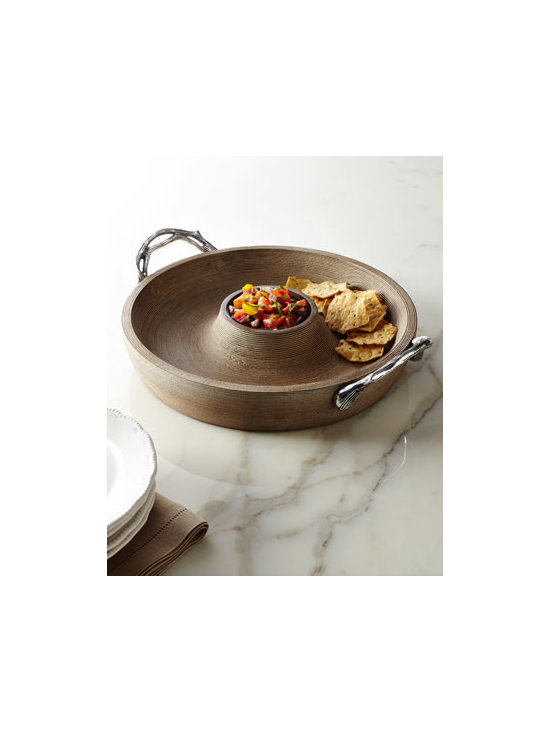 Horchow - Weathered-Wood Chip & Dip - Functional as well as decorative, this chip and dip server juxtaposes a weathered-wood body with branch-motif metal handles for a look that is both rustic and sophisticated. Handcrafted of mango wood and cast aluminum. Do not immerse in water; wipe cl...
