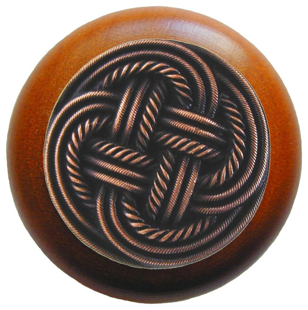 Classic Weave Cherry Wood Knob (antique copper) - Traditional - Cabinet And Drawer Knobs - by ...