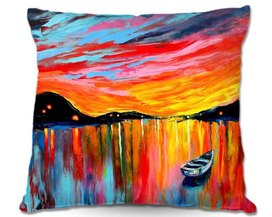 DiaNoche Designs - Pillow Linen - Aja-Anns Red Sky at Night - Add a little texture and style to your decor with our Woven Linen throw pillows. The material has a smooth boxy weave and each pillow is machine loomed, then printed and sewn in the USA.  100% smooth poly with cushy supportive pillow insert with a hidden zip closure. Dye Sublimation printing adheres the ink to the material for long life and durability. Double Sided Print, machine wash upon arrival for maximum softness. Product may vary slightly from image.