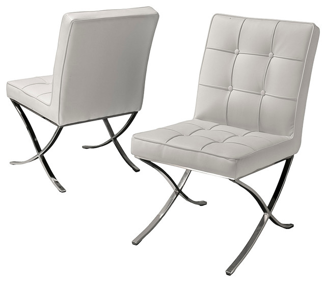 Modern White Leather Dining Chair Set Of 2 Modern Dining Chairs By Gre