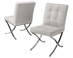 Modern White Leather Dining Chair, Set of 2 modern-dining-chairs