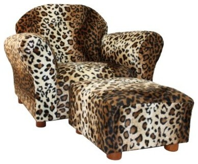 Fantasy Furniture Roundy Kids Chair Leopard with Ottoman modern-kids-chairs