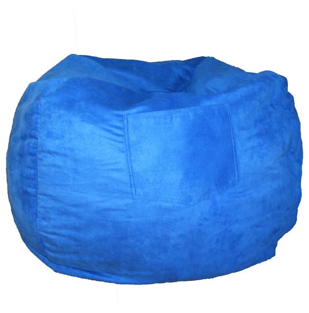 Fun Furnishings Micro Suede Small Bean Bag in Royal Blue traditional-bean-bag-chairs