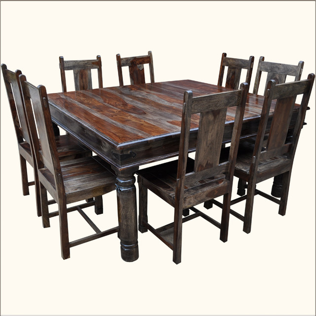 Large solid wood square dining table chair set for 8 for Solid wood dining room table and chairs