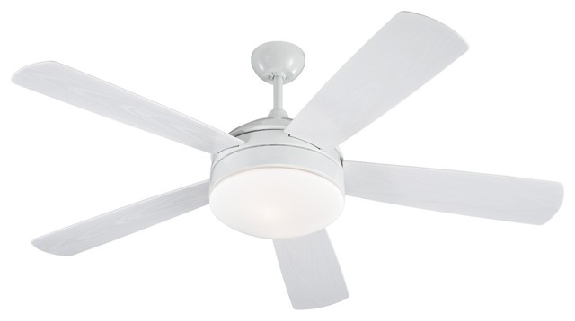 """Transitional 52"""" Monte Carlo Hydro White Damp Ceiling Fan with Light Kit contemporary-ceiling-fans"""
