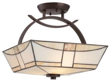 Quoizel Zachary TFZA1714WT Semi-Flush Mount - 14W in. - Western Bronze modern-bathroom-vanity-lighting