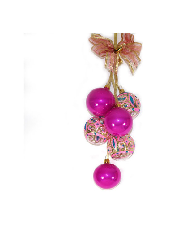 """""""Retro"""" Glass Christmas Ornament Garland - This Christmas ornament Garland has six items: 6 balls – 2"""" (50mm) in diameter. Each ornament is made of hand blown glass and painted individually which makes them unique and adds some small variations to each product."""