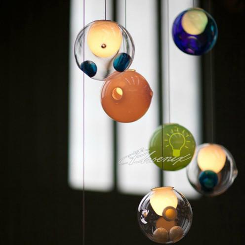 Lovely handcraft multi color glass ball pendant lighting - Colored glass pendant lights ...