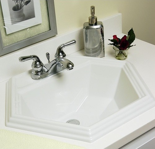 Advantage Edgefield Self Rimming Hexagon Bathroom Sink modern-bathroom-sinks