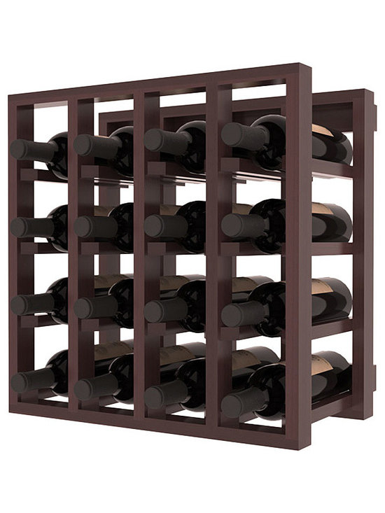 Lattice Stacking Wine Cubicle in Redwood with Walnut Stain + Satin Finish - Designed to stack one on top of the other for space-saving wine storage our stacking cubes are ideal for an expanding collection. Use as a stand alone rack in your kitchen or living space or pair with the 20 Bottle X-Cube Wine Rack and/or the Stemware Rack Cube for flexible storage.