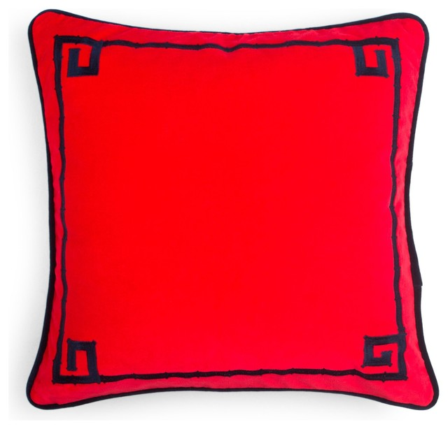 Embroidered Bamboo Pillow Cover, Scarlet/Navy asian-pillows