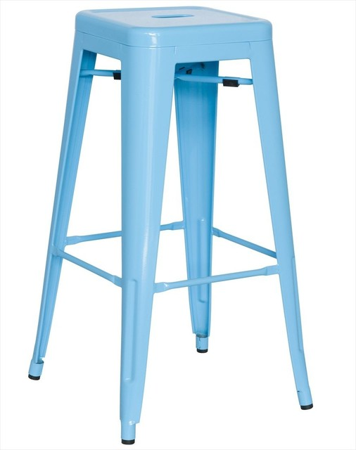 Alfresco Galvanized Steel Bar Stool in Sky Blue Set of 4  :  bar stools and counter stools from www.houzz.com size 506 x 640 jpeg 35kB