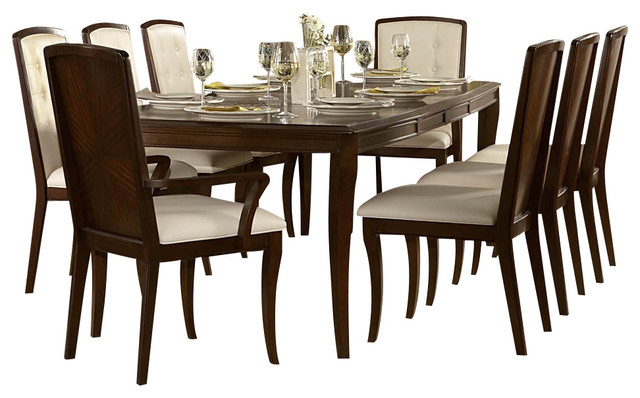 piece rectangular dining room set in walnut traditional dining sets