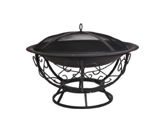CobraCo Fire Bowl with Scroll Base with Screen and Cover -