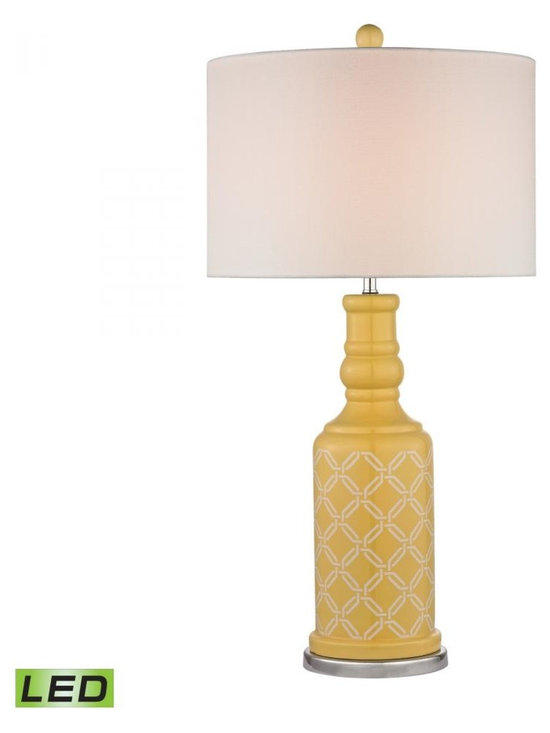 Dimond - One Light White Linen Shade Sunshine Yellow With White Pattern And Pol - One Light White Linen Shade Sunshine Yellow With White Pattern And Pol