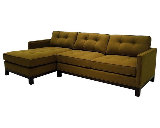 Cosmo Sectional Sofa - The straight, clean lines of the arms and base combined with classic button tufting on the cushions make the Cosmo sectional a chic twist on tradition.