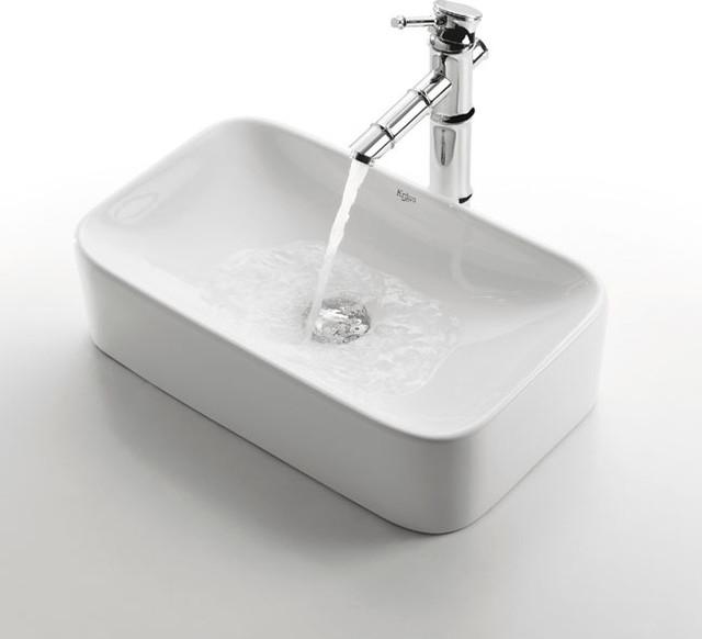 Kraus Bathroom Sinks : ... Ceramic Sink and Bamboo Faucet C-KCV-122-1300CH modern-bathroom-sinks