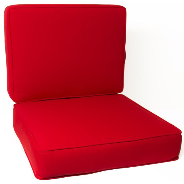 Modern Chair Pillows : Large Replacement Club Chair Cushion Set With Piping - Canvas Jockey Red modern-seat-cushions