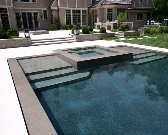 Stone Pool Deck and Coping - Designed by Hess Landscape Architects