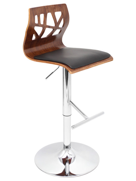 Folia Bar Stool - WALNUT/BLACK