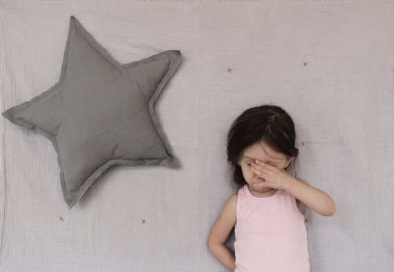 Star Shaped Pillow Or Cushion, French Grey Soft Cotton By ColetteBream contemporary pillows