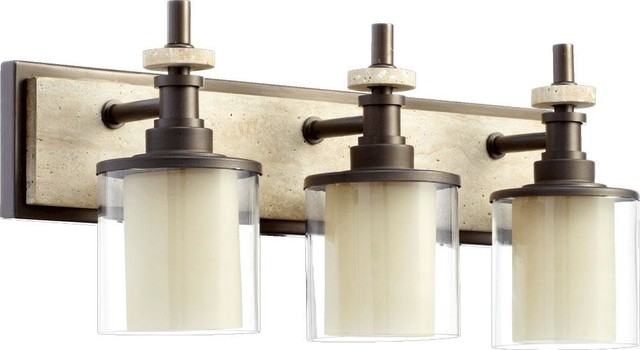 Three Light Oiled Bronze Clear Glass Vanity - Transitional - Bathroom Vanity Lighting - by We ...