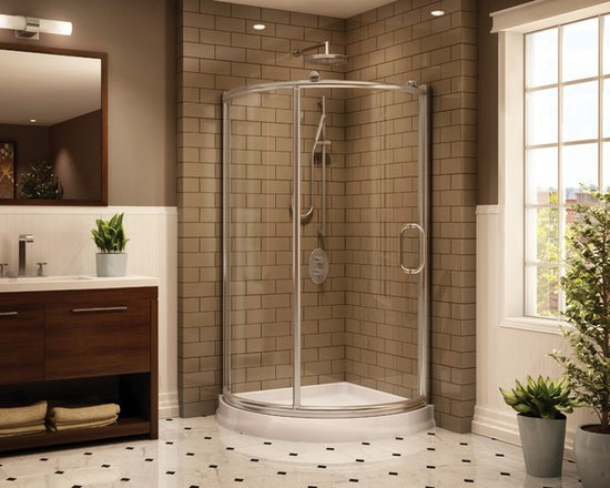 "Fleurco Roma Arc 36"" x 36"" Corner Shower Enclosure FRM36 - Chrome and brushed nickel anodized aluminum finishes"