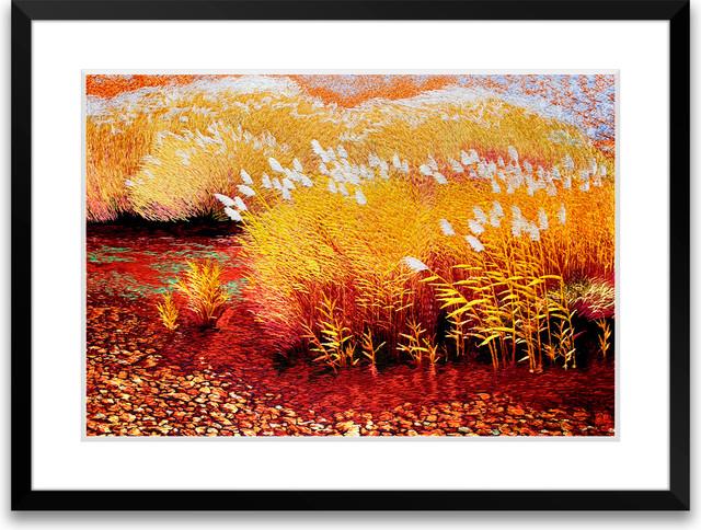 Reeds - Hand Designed Silk Art, Silk Embroidery asian-artwork