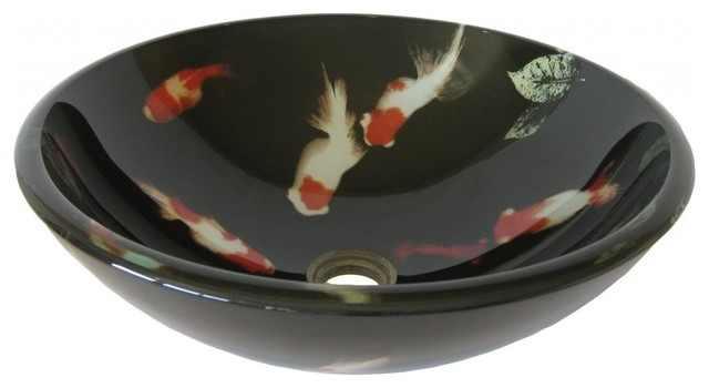 Novatto Tid 195 Koi Fish Glass Vessel Sink 16 5 Inch
