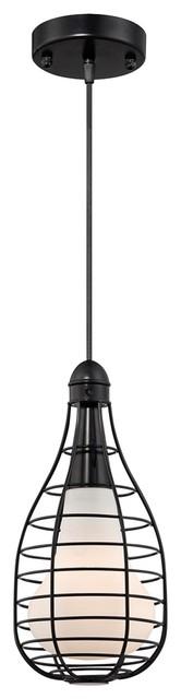 "Contemporary Industrial Cage 6"" Wide Black Pendant Light modern-pendant-lighting"