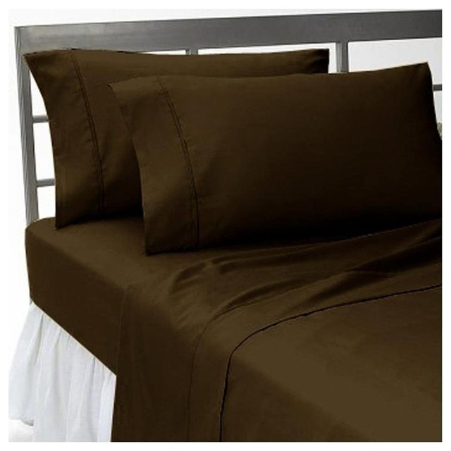 400TC 100% Egyptian Cotton Solid Chocolate Short Queen Size Flat Sheet + 2 Pillo contemporary-sheets