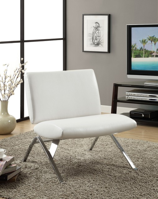 White leather look and chrome metal accent chair modern for Metal living room chairs