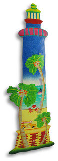 Tropical Theme Metal Lighthouse Wall Hanging beach-style-artwork