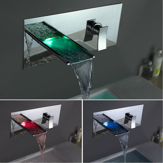 Led Light Up Waterfall Wall Mounted Bathroom Faucet