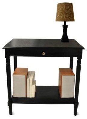 Convenience Concepts French Country Hall Table with Drawer and Shelf - Black modern-bar-tables