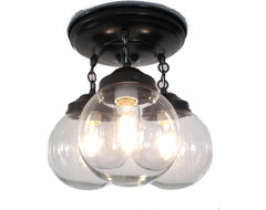 Biddeford Way. Clear Globe CEILING LIGHT Trio, Oil Rubbed Bronze modern-flush-mount-ceiling-lighting