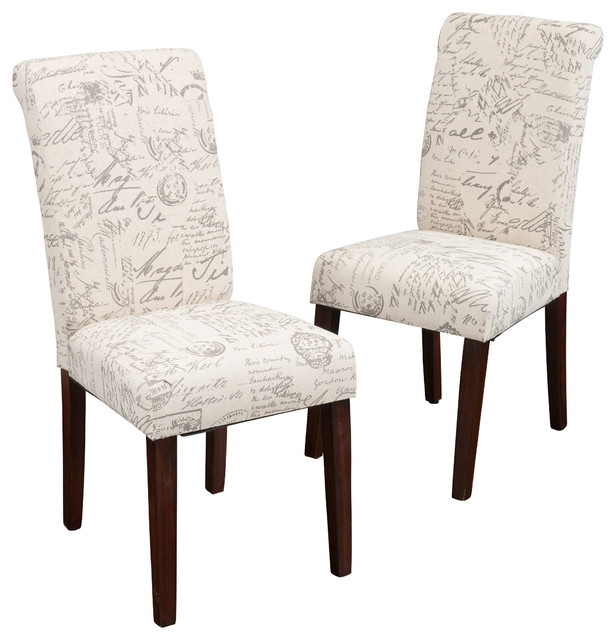 Set of 2 Script Printed Linen Dining Chairs Transitional