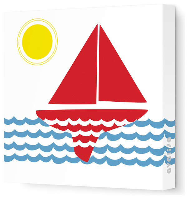 """Things That Go - Sailing Stretched Wall Art, 18"""" x 18"""", Red Blue beach-style-kids-decor"""