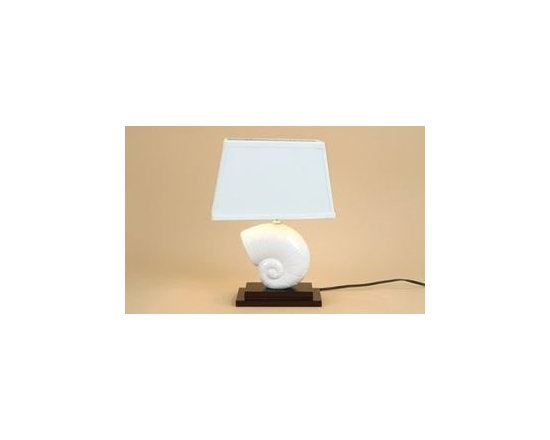 Decorative Nautilus Shell Table Lamp With Linen Fabric Shade, White Ceramic Seas -