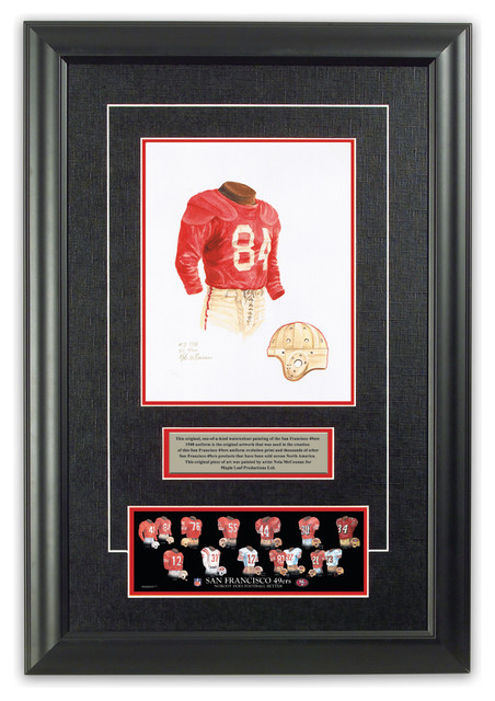 Original art of the NFL 1948 San Francisco 49ers uniform traditional-game-room-wall-art-and-signs