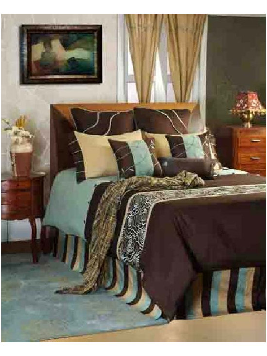 Snazzy Contemporary Bedding Set By Rizzy Rugs - Kaleidoscope colors and shapes create the luxurious Snazzy Contemporary Bedding Set. Crafted from soft 100 Percent cotton,it features bold light blue,gold and brown stripes,which complement dramatic swirls. Embellish any bedroom in artistic styling with this linen set.
