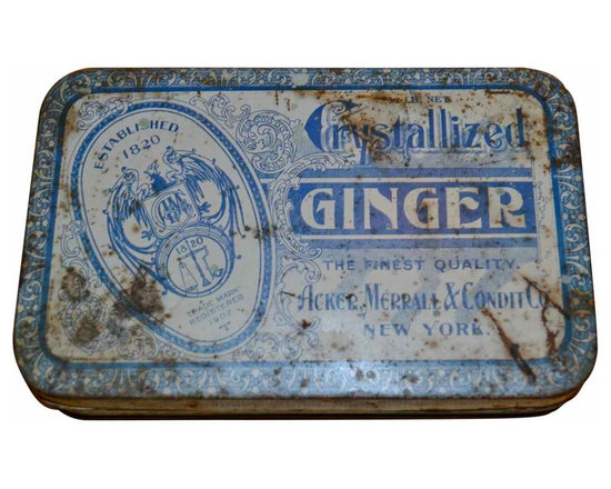 Crystallized Ginger Tin - Vintage Acker, Merrall & Condit Co. hinged Crystallized Ginger tin.  Old, weathered blue and white.