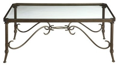 The Stein World Somerset Rectangular Bronze Metal and Glass Coffee Table doesn't - Modern ...