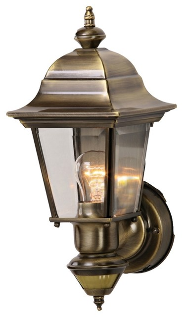 Country - Cottage Artisan Antique Brass Outdoor Motion Sensor Wall Light - Traditional - Outdoor ...