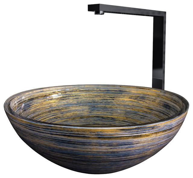 ... Glass Vessel Bathroom Sink, Black Silver Ivory modern-bathroom-sinks
