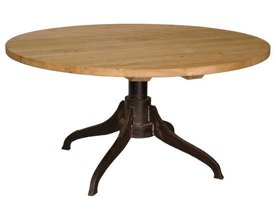 """Noir 60"""" Industry Dining Table - 60"""" Industry Dining Table with Old Elm wood in Metal and natural finish by Noir Furniture.  http://www.plumgoose.com/noir-60-industry-dining-table.html"""