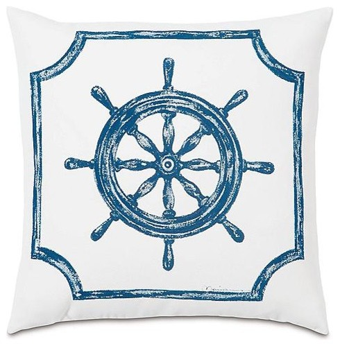 Hand-painted Captain's Wheel Outdoor Outdoor Throw Pillow traditional-outdoor-pillows