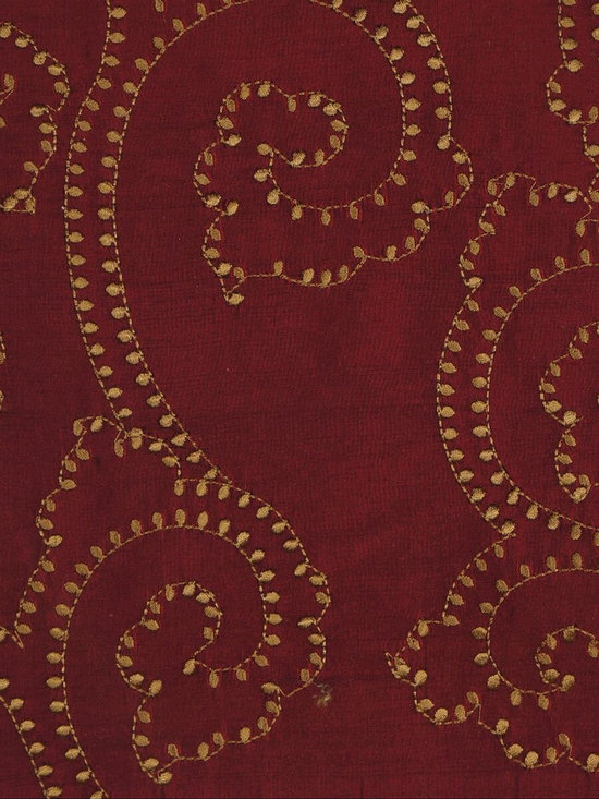 Red Scroll Custom Made Embroidered Dupioni Silk Curtains - Create an exceptionally textured appeal to any room. These beautiful window curtain panels feature an all-over, mid-scale scroll damask embroidery that adds style and elegance.