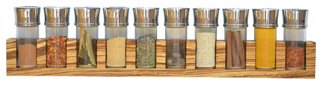 Minimalist Spice Rack (Hardwood), Zebrawood, 10 Jars contemporary-food-containers-and-storage